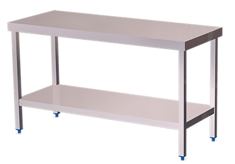 Mesa de trabajo cocina con estanter a muebles y for Mesas de trabajo para cocina