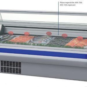 vitrina expositora refrigerada modular pescado